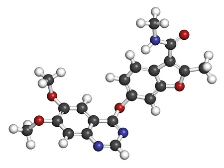 endothelial: Fruquintinib cancer drug molecule. 3D rendering. Atoms are represented as spheres with conventional color coding: hydrogen (white), carbon (grey), nitrogen (blue), oxygen (red).