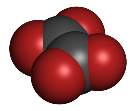 Oxalate anion, chemical structure. Oxalate salts can form kidney stones. 3D rendering. Atoms are represented as spheres with conventional color coding: carbon (grey), oxygen (red).