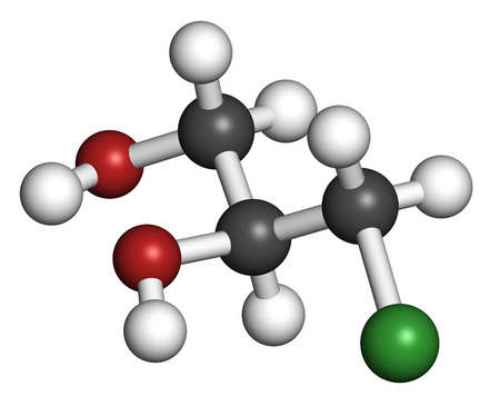 hydrochloric: 3-MCPD carcinogenic food by-product molecule. Produced when hydrochloric acid is added to food to speed up protein hydrolysis. 3D rendering. Atoms are represented as spheres with conventional color coding: hydrogen (white), carbon (grey), oxygen (red), ch