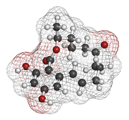 Zearalenone (ZEN) mycotoxin molecule. Produced by some Fusarium and Gibberella species. 3D rendering. Atoms are represented as spheres with conventional color coding: hydrogen (white), carbon (grey), oxygen (red).
