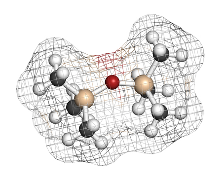Hexamethyldisiloxane (HDMSO) organosilicon solvent molecule. 3D rendering. Atoms are represented as spheres with conventional color coding: hydrogen (white), carbon (grey), oxygen (red), silicon (beige).