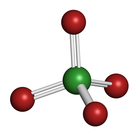 ion: Perchlorate anion, chemical structure. Salts are used in rocket propellants.  3D rendering. Atoms are represented as spheres with conventional color coding: chlorine (green), oxygen (red).
