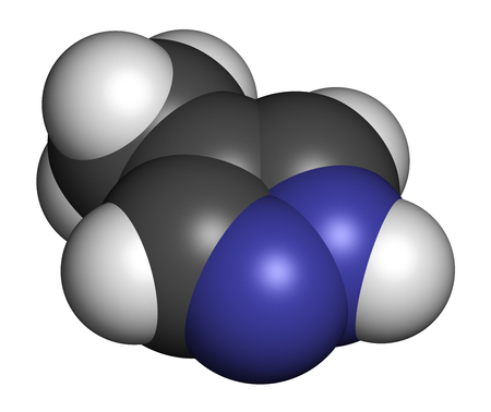 Fomepizole molecule. Antidote used to treat methanol and ethylene glycol poisoning. 3D rendering. Atoms are represented as spheres with conventional color coding: hydrogen (white), carbon (grey), nitrogen (blue). Stock Photo