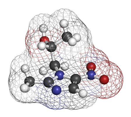 Secnidazole anti-infective drug molecule (nitroimidazole class). 3D rendering. Atoms are represented as spheres with conventional color coding: hydrogen (white), carbon (grey), nitrogen (blue), oxygen (red).