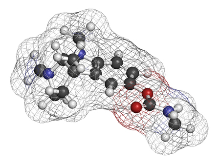 Physostigmine alkaloid molecule. Present in calabar bean and manchineel tree, acts as acetylcholinesterase inhibitor. 3D rendering. Atoms are represented as spheres with conventional color coding: hydrogen (white), carbon (grey), oxygen (red), nitrogen (b Stock Photo