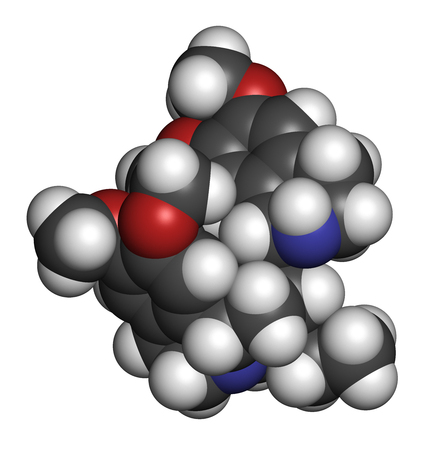 Emetine molecule. Has emetic (induces vomiting) and anti-protozoal properties. 3D rendering. Atoms are represented as spheres with conventional color coding: hydrogen (white), carbon (grey), oxygen (red), nitrogen (blue).