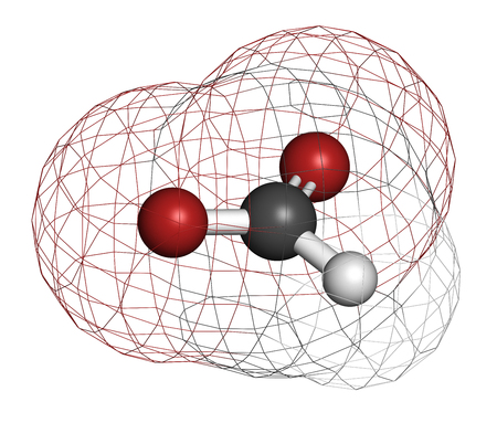 formic: Formate anion, chemical structure. 3D rendering. Atoms are represented as spheres with conventional color coding: carbon (grey), hydrogen (white), oxygen (red). Stock Photo