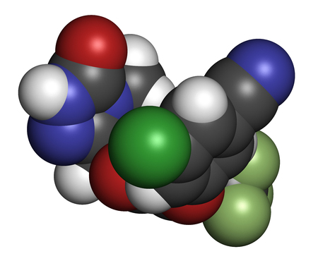 Doravirine HIV drug molecule (non-nucleoside reverse transcriptase inhibitor). 3D rendering. Atoms are represented as spheres with conventional color coding: hydrogen (white), carbon (grey), nitrogen (blue), oxygen (red), chlorine (green), fluorine (light