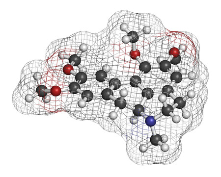 muscle relaxant: Glaucine alkaloid molecule. Found in yellow hornpoppy (Glaucium flavum) and a number of other plants. 3D rendering. Atoms are represented as spheres with conventional color coding: hydrogen (white), carbon (grey), oxygen (red), nitrogen (blue).