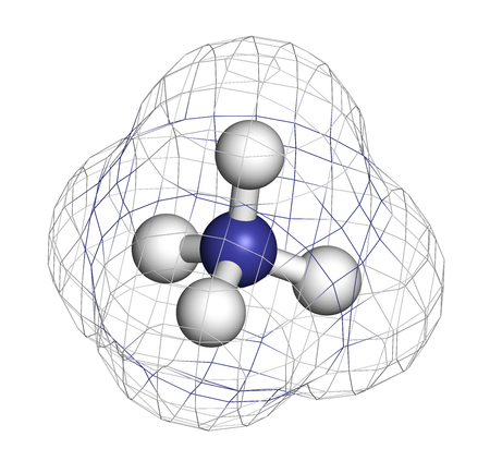 Ammonium cation. Protonated form of ammonia. 3D rendering. Atoms are represented as spheres with conventional color coding: hydrogen (white), nitrogen (blue).
