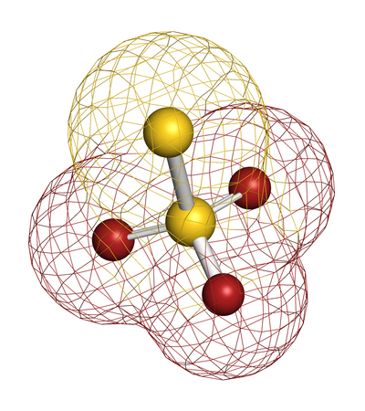Thiosulfate anion, chemical structure. 3D rendering. Atoms are represented as spheres with conventional color coding: sulfur (yellow), oxygen (red).
