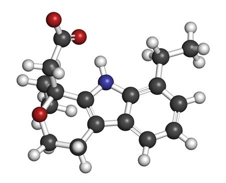hidrógeno: Etodolac AINE molécula de fármaco. Representación 3D. Los átomos se representan como esferas con códigos de color convencionales: hidrógeno (blanco), carbono (gris), nitrógeno (azul), oxígeno (rojo).