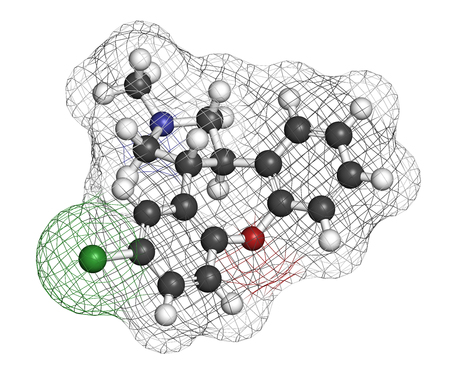 Asenapine antipsychotic drug molecule. 3D rendering. Atoms are represented as spheres with conventional color coding: hydrogen (white), carbon (grey), nitrogen (blue), oxygen (red), chlorine (green).