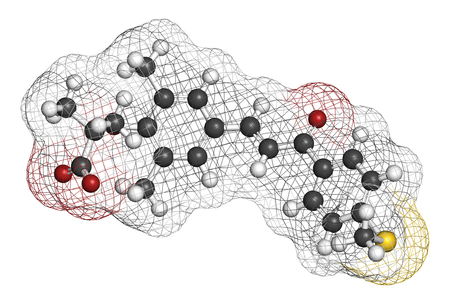 Elafibranor drug molecule. 3D rendering. Atoms are represented as spheres with conventional color coding: hydrogen (white), carbon (grey), nitrogen (blue), oxygen (red), sulfur (yellow). Stock Photo