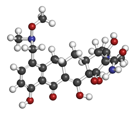 Sarecycline antibiotic drug molecule (tetracycline class). 3D rendering. Atoms are represented as spheres with conventional color coding: hydrogen (white), carbon (grey), nitrogen (blue), oxygen (red).
