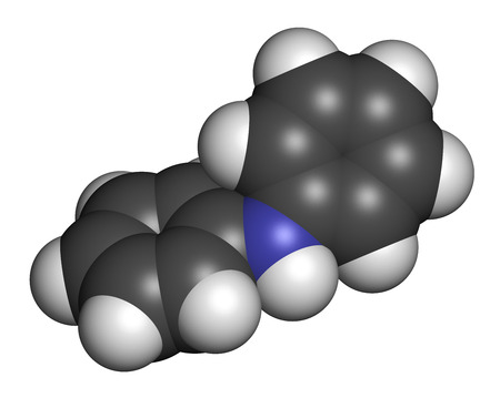 Diphenylamine antioxidant molecule. Used to prevent apple scald.  3D rendering. Atoms are represented as spheres with conventional color coding: hydrogen (white), carbon (grey), nitrogen (blue).