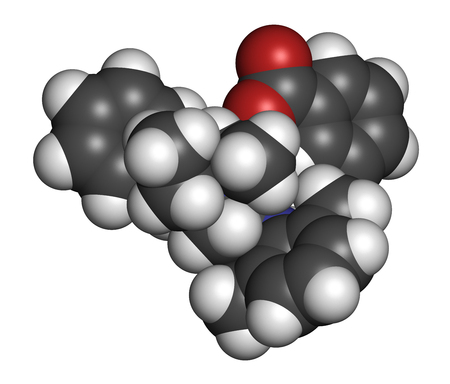 benzoic: Denatonium benzoate bittering agent. 3D rendering. Atoms are represented as spheres with conventional color coding: hydrogen (white), carbon (grey), oxygen (red), nitrogen (blue).