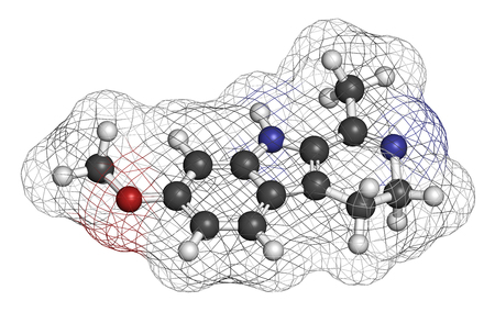 Harmaline indole alkaloid molecule. Found in Syrian rue (Peganum harmala). 3D rendering. Atoms are represented as spheres with conventional color coding: hydrogen (white), carbon (grey), oxygen (red), nitrogen (blue).