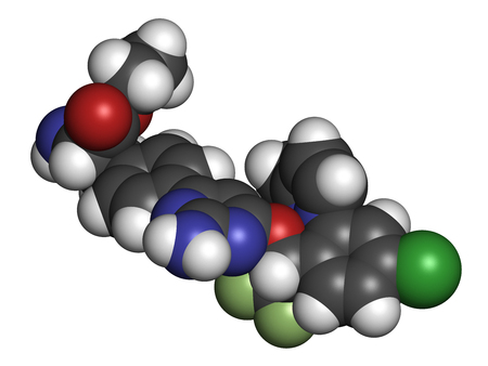 Telotristat ethyl drug molecule (tryptophan hydroxylase inhibitor). 3D rendering. Atoms are represented as spheres with conventional color coding: hydrogen (white), carbon (grey), nitrogen (blue), oxygen (red), sulfur (yellow), fluorine (light green).