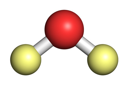 Deuterium oxide (heavy water) molecule. 3D rendering. Atoms are represented as spheres with conventional color coding: deuterium (light yellow), oxygen (red). Stock Photo