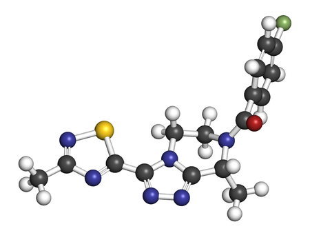 Fezolinetant drug molecule (NK3 receptor inhibitor). 3D rendering. Atoms are represented as spheres with conventional color coding: hydrogen (white), carbon (grey), nitrogen (blue), oxygen (red), sulfur (yellow), fluorine (light green).