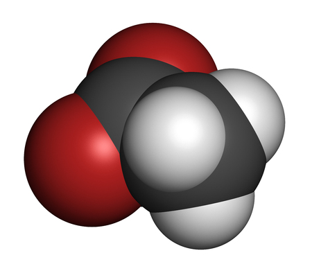 Acetate anion, chemical structure. 3D rendering. Atoms are represented as spheres with conventional color coding: carbon (grey), hydrogen (white), oxygen (red). Standard-Bild