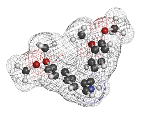 relaxant: Papaverine opium alkaloid molecule. Used as antispasmodic drug. 3D rendering. Atoms are represented as spheres with conventional color coding: hydrogen (white), carbon (grey), oxygen (red), nitrogen (blue).
