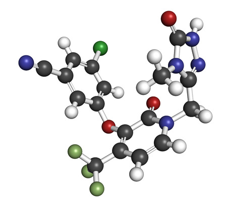 immunodeficiency: Doravirine HIV drug molecule (non-nucleoside reverse transcriptase inhibitor). 3D rendering. Atoms are represented as spheres with conventional color coding: hydrogen (white), carbon (grey), nitrogen (blue), oxygen (red), chlorine (green), fluorine (light