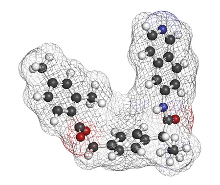Netarsudil drug molecule. Used in treatment of ocular hypertension and glaucoma. 3D rendering. Atoms are represented as spheres with conventional color coding: hydrogen (white), carbon (grey), nitrogen (blue), oxygen (red). Stock Photo