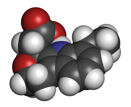Etodolac NSAID drug molecule. 3D rendering. Atoms are represented as spheres with conventional color coding: hydrogen (white), carbon (grey), nitrogen (blue), oxygen (red). Stock Photo