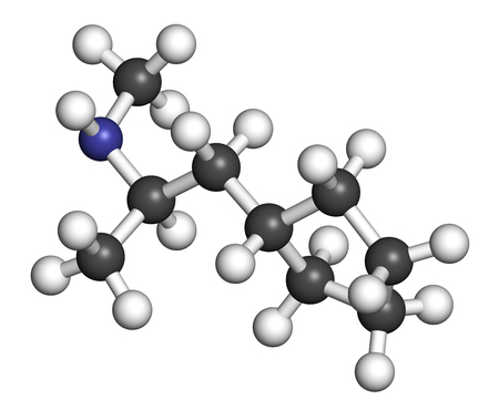 nitrogen: Cyclopentamine nasal decongestant drug molecule (largely discontinued). 3D rendering. Atoms are represented as spheres with conventional color coding: hydrogen (white), carbon (grey), nitrogen (blue).
