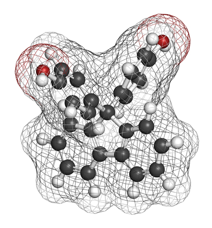 Fluorene-9-bisphenol (BHPF) molecule. Used as alternative to bisphenol A (BPA) but found to be endocrine disruptor as well. 3D rendering. Atoms are represented as spheres with conventional color coding: hydrogen (white), carbon (grey), oxygen (red). Stock Photo