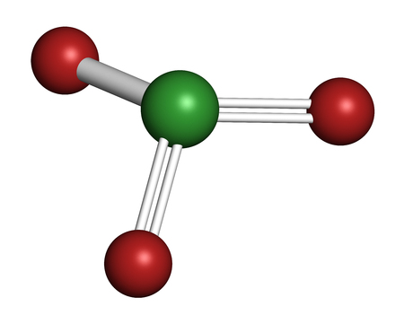 Chlorate anion, chemical structure. 3D rendering. Atoms are represented as spheres with conventional color coding: chlorine (green), oxygen (red).