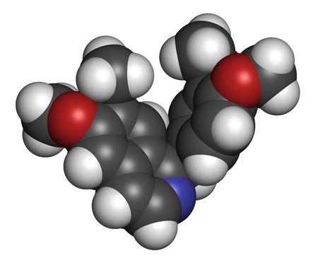 muscle relaxant: Papaverine opium alkaloid molecule. Used as antispasmodic drug. 3D rendering. Atoms are represented as spheres with conventional color coding: hydrogen (white), carbon (grey), oxygen (red), nitrogen (blue).