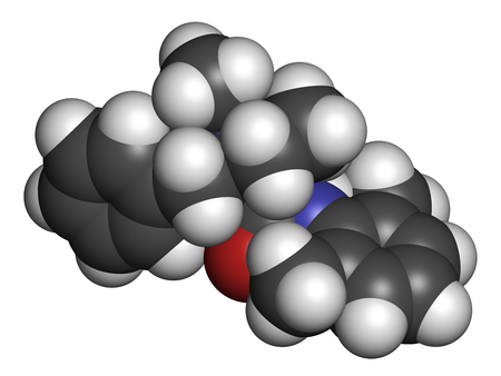 Denatonium bittering agent molecule. 3D rendering. Atoms are represented as spheres with conventional color coding: hydrogen (white), carbon (grey), oxygen (red), nitrogen (blue). Stock Photo