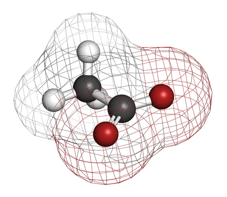 acetic acid: Acetate anion, chemical structure. 3D rendering. Atoms are represented as spheres with conventional color coding: carbon (grey), hydrogen (white), oxygen (red). Stock Photo