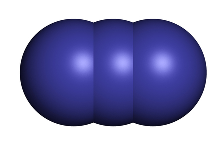 oxidase: Azide anion, chemical structure. Azide salts are used in detonators and as propellants. 3D rendering. Atoms are represented as spheres with conventional color coding: nitrogen (blue). Stock Photo