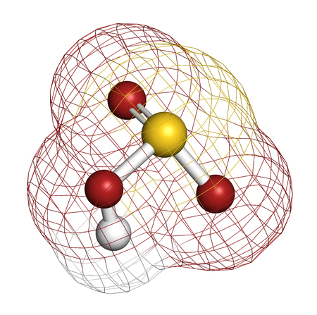 Bisulfite anion, chemical structure. Common salts include sodium bisulfite (E222) and potassium bisulfite (E228), used as food preservatives. 3D rendering. Atoms are represented as spheres with conventional color coding: hydrogen (white), sulfur (yellow), Stock Photo