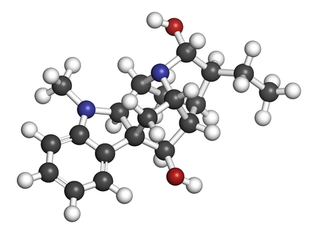 Ajmaline antiarrhytmic agent molecule.  3D rendering. Atoms are represented as spheres with conventional color coding: hydrogen (white), carbon (grey), oxygen (red), nitrogen (blue). Imagens - 79390491