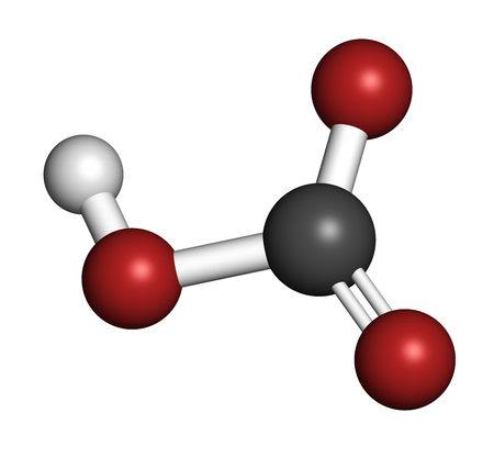 Bicarbonate anion, chemical structure. Common salts include sodium bicarbonate (baking soda) and ammonium bicarbonate. 3D rendering. Atoms are represented as spheres with conventional color coding: hydrogen (white), carbon (grey), oxygen (red). Stock Photo