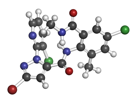Chlorantraniliprole insecticide molecule (ryanoid class). 3D rendering. Atoms are represented as spheres with conventional color coding: hydrogen (white), carbon (grey), oxygen (red), nitrogen (blue), chlorine (green), bromine (brown).