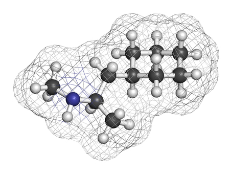Propylhexedrine molecule. Used as nasal decongestant and stimulant. 3D rendering. Atoms are represented as spheres with conventional color coding: hydrogen (white), carbon (grey), nitrogen (blue).
