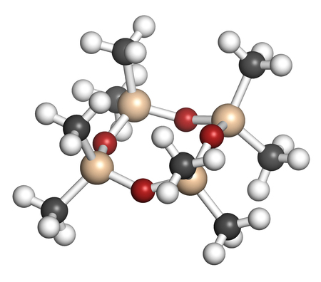 Octamethylcyclotetrasiloxane (D4 silicone) molecule. 3D rendering. Atoms are represented as spheres with conventional color coding: hydrogen (white), carbon (grey), oxygen (red), silicon (beige).