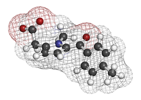 Tolmetin NSAID drug molecule. 3D rendering. Atoms are represented as spheres with conventional color coding: hydrogen (white), carbon (grey), nitrogen (blue), oxygen (red). Stock Photo