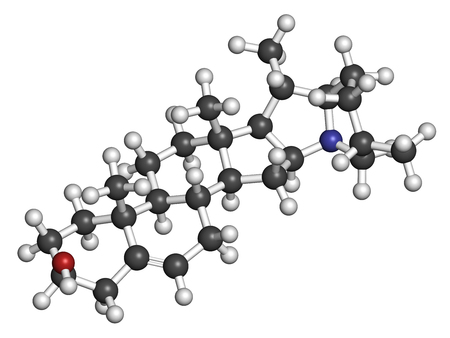 nightshade: Solanidine potato toxin molecule. 3D rendering. Atoms are represented as spheres with conventional color coding: hydrogen (white), carbon (grey), oxygen (red), nitrogen (blue).
