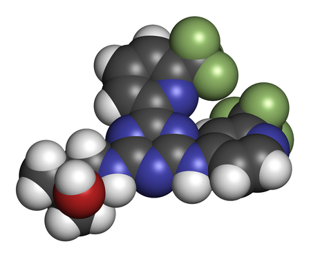 leukemia: Enasidenib cancer drug molecule (IDH2 inhibitor). 3D rendering. Atoms are represented as spheres with conventional color coding: hydrogen (white), carbon (grey), nitrogen (blue), oxygen (red), fluorine (light green). Stock Photo