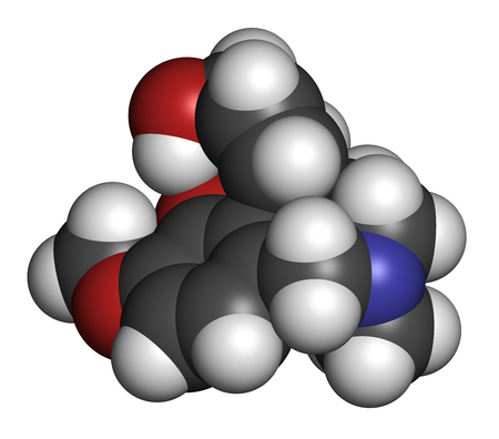 acetylcholine: Galantamine alkaloid molecule. Found in Caucasian snowdrop, used in treatment of Alzheimers disease. 3D rendering. Atoms are represented as spheres with conventional color coding: hydrogen (white), carbon (grey), oxygen (red), nitrogen (blue). Stock Photo