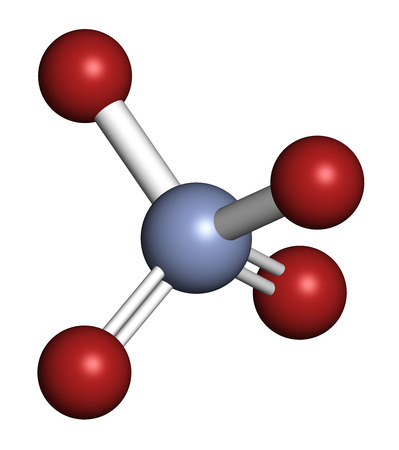 Chromate anion, chemical structure. 3D rendering. Atoms are represented as spheres with conventional color coding: chromium (blue-grey), oxygen (red).