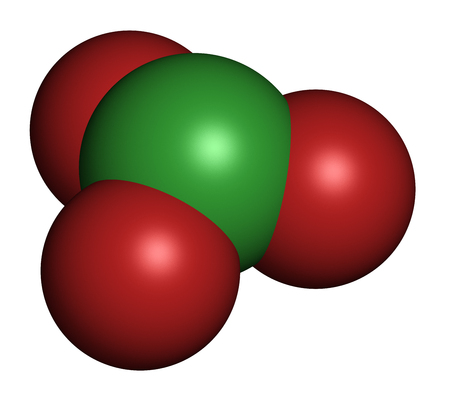 trigonal: Chlorate anion, chemical structure. 3D rendering. Atoms are represented as spheres with conventional color coding: chlorine (green), oxygen (red).