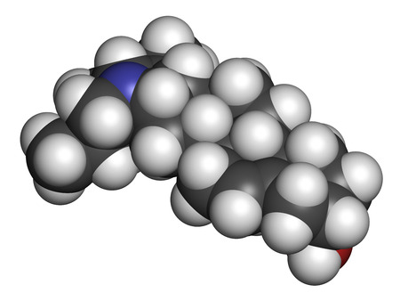 Solanidine potato toxin molecule. 3D rendering. Atoms are represented as spheres with conventional color coding: hydrogen (white), carbon (grey), oxygen (red), nitrogen (blue).